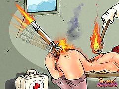 BDSM Art Pictures -  A firing gun in nurse's ass