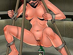 BDSM Art Pictures -  Merciless pussy stretching in the dungeon