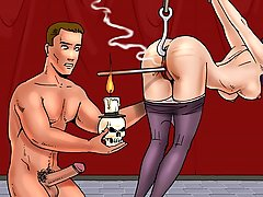 BDSM Art Pictures -  Suspended bondmaid gets her pussy burnt