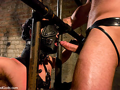 Gay Pictures -  Master Tober suspends slave Brandon hawk and works over his ass.
