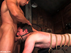 Gay Pictures -  Bound God Romario Faria is tied up, but turns the table by fucking his captor, slave dante.