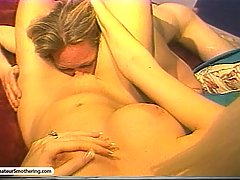 Smothering Pictures -  Blonde babe grinds on his face and wanks his cock