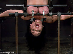 BDSM Toys Pictures -  Huge tits, bound in metal, nipple tormented, helpless cumming.