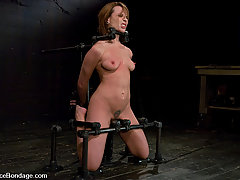 BDSM Toys Pictures -  Dana DeArmond bound, helpless to stop the brutal face fucking