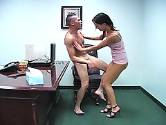 CBT Pictures -  Jessica Valentino joyfully attacks her principals groin
