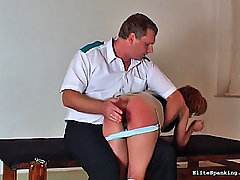 Spanking Pictures -  cute girl with stockings gets bent over and spanked