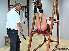 Spanking Pictures -  School girl gets bound and paddled brutally