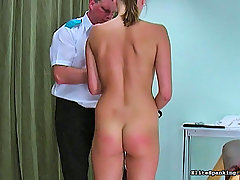 Spanking Pictures -  Cute girl with pink pussy gets strapped down and paddled hard