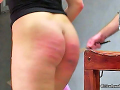 Spanking Pictures -  Hot German girl gets caned so hard the skin breaks