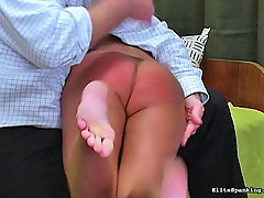 Spanking Pictures -  Hot German slut gets bent over and spanked