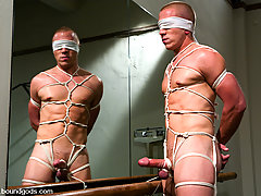 Gay Pictures -  Wolf Hudson gives Christian Owen a hard bondage fuck in the shower.