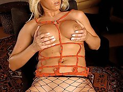 Fetish Pictures -  Stacked blonde Anna wears sexy fishnet stockings