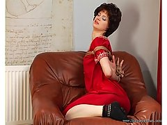 Fetish Pictures -  Slut in a red dress get tied up in knots
