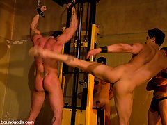 Gay Pictures -  Master Van abuses Master Tober in his dungeon. Part two